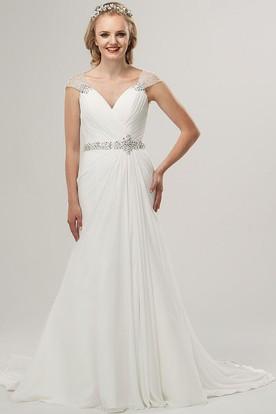 Beaded Cap Sleeve V Neck Chiffon Wedding Dress With Waist Jewellery And Criss Cross