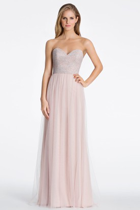 6f2ffa77285 Beaded Sleeveless Sweetheart Tulle Bridesmaid Dress With Low-V Back ...