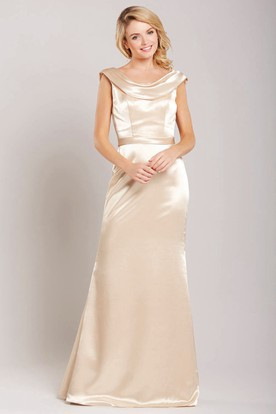 Cap Sleeve Cowl Neck Satin Bridesmaid Dress With Low V Back