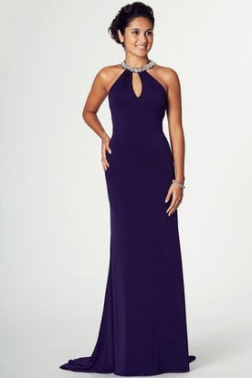 High Neck Beaded Sleeveless Chiffon Prom Dress With Brush Train