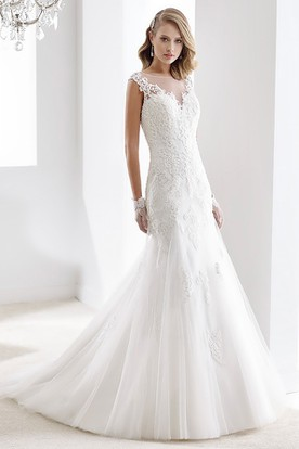 Lace top wedding dresses ucenter dress cap sleeve sheath bridal gown with mermaid style and illusive design junglespirit Images