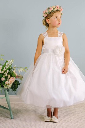 c800c7d7e61f Tea-Length Bowed Floral Lace&Organza Flower Girl Dress With Sash