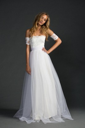 2029346bcc2 ... Grace Loves Strapless A-Line Tulle Dress With Lace Bodice and Sleeves