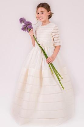 dc1ed71c8 A-Line Scoop-Neck Floor-Length Half-Sleeve Floral Satin Flower Girl