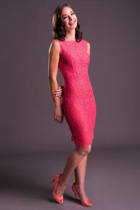Pencil Sleeveless Jewel-Neck Split-Back Knee-Length Lace Prom Dress ... f500df2af