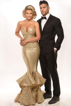 8cb7579c5 Mermaid Cascading-Ruffle Floor-Length Sweetheart Sleeveless Sequins Prom  Dress With Split Front ...