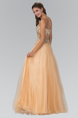 ... A-Line Strapless Sleeveless Tulle Backless Dress With Beading And  Ruffles 2f5880c0b