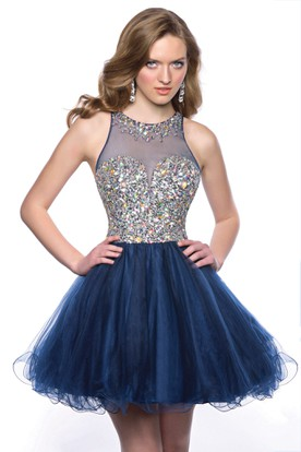 d11f5b0f0c4 Tulle Sleeveless Jewel Neck Homecoming Dress With Polychrome Bodice ...