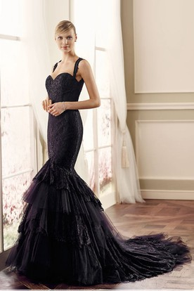 Black Trumpet Wedding Dresses