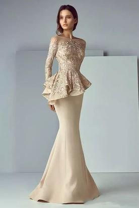 61ea2ba5ee9d Long Sleeve Mermaid Bateau Floor-length Satin Lace Mother of the Bride Dress  with Peplum ...