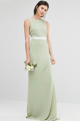 Sheath Jewel Neck Floor Length Sleeveless Chiffon Bridesmaid Dress With Ribbon And V Back