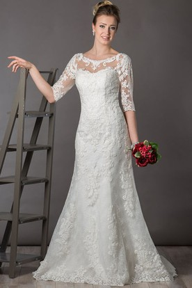 Scoop Neck V Back Lace Bridal Gown With Illusion Half Sleeve