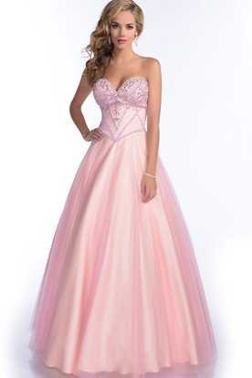 bab7ff52f8f Sweetheart A-Line Tulle Gown With Rhinestone Bust And Lace-Up Back ...