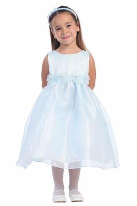 Tea Length Sleeveless Flower Girl Dress