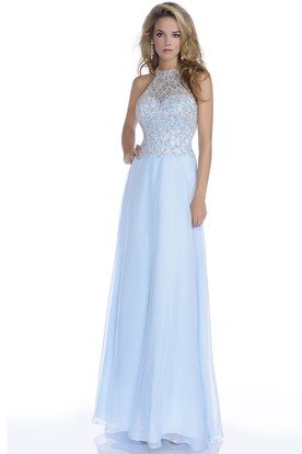 3054046c76a Long Chiffon Prom Dress With Jeweled Bodice And Open Back ...