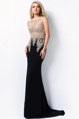 beb6a9a203 Sheath Long Scoop-Neck Sleeveless Jersey Illusion Dress With Beading ...