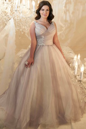 890a7052e704 Ball Gown V-Neck Beaded Sleeveless Tulle Plus Size Wedding Dress With Criss  Cross And ...