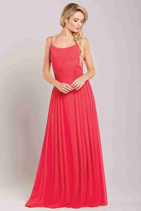 Spaghetti Maxi Pleated Sleeveless Chiffon Bridesmaid Dress