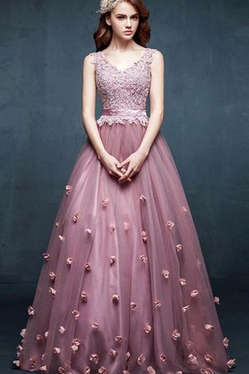 A-line V-neck Sleeveless Appliques Flower Tulle Dress ... 7dac3e6c2
