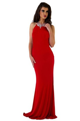 Sheath Floor-Length Scoop Beaded Sleeveless Jersey Prom Dress With Pleats