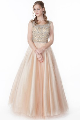 A Line Floor Length Scoop Neck Beaded Sleeveless TulleSatin Prom Dress With Pleats
