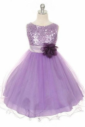 Floral Tea-Length Floral Sequins Satin Flower Girl Dress With Sash a189def4b