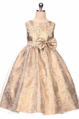6c41c1dfdd Tea-Length Bowed Tiered Sequins Organza Flower Girl Dress With Sash ...