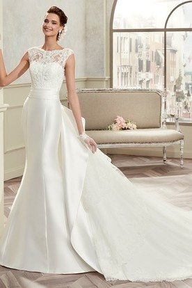 Jewel Neck Cap Sleeve Satin Bridal Gown With Detachable Train And Back Bow