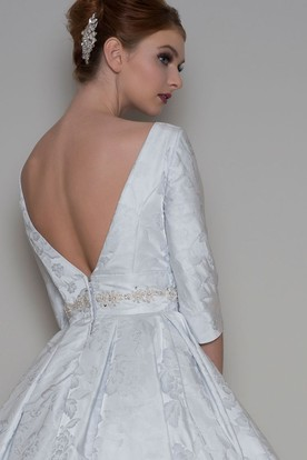 dd1db33a93a ... A-Line Tea-Length 3-4 Sleeve Bateau Neck Jeweled Satin Wedding Dress