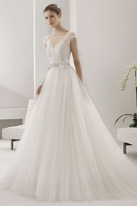a0f505f086 Scalloped V Neck Cap Sleeve Tulle Ball Gown With Lace Top And Beading  Floral Waist ...