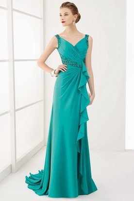 V Neck Back Crystal Waist Long Prom Dress With Ruffles And Brush Train