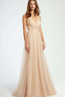 Criss-Cross V-Neck Sleeveless Tulle Bridesmaid Dress With Brush Train a525491857d1
