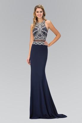 eceb6ed17d Sheath Maxi Jewel-Neck Sleeveless Jersey Illusion Dress With Beading ...