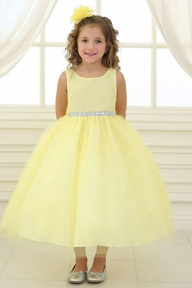 Yellow flower girl dresses flower girl dresses shop by color beaded tullesatin flower girl dress mightylinksfo