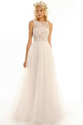 54444777583 Jewel Floor-Length Appliqued Tulle Wedding Dress With Brush Train And  Illusion ...