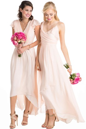 High-Low Cap Sleeve Ruched V-Neck Chiffon Muti-Color Convertible Bridesmaid  Dress ... 5a71da0977bf