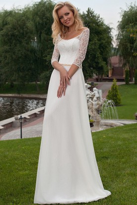 Bon Appliqued 3 4 Sleeve Scoop Neck Chiffon Wedding Dress ...