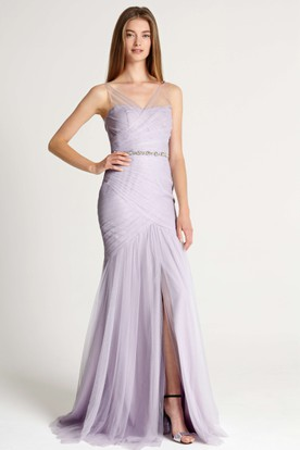 Mermaid Ruched V Neck Sleeveless Tulle Bridesmaid Dress With Waist Jewellery