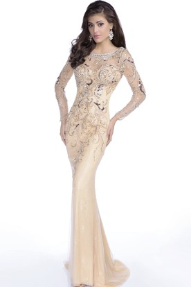 fc2e4ced443 Trumpet Long Sleeve Tulle Gown Featuring Shining Sequins And Keyhole Back  ...