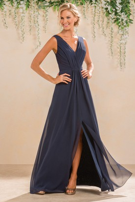 V Neck Sleeveless A Line Gown With Front And Back