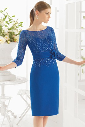 Pencil Midi Fl Scoop Neck Half Sleeve Prom Dress With Sequins And Lace