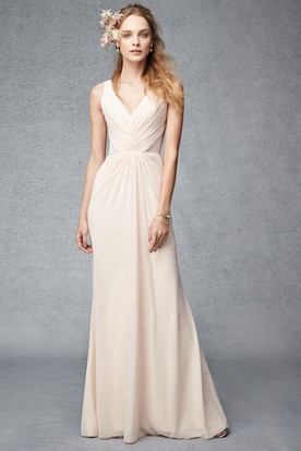 003a3f6dbae Maxi Ruched V-Neck Sleeveless Chiffon Bridesmaid Dress