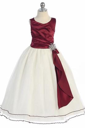 Broach Tea-Length Pleated Satin Flower Girl Dress With Ruffles