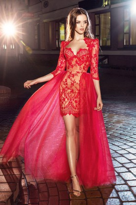 e3d94dffda3 Pencil Short Sweetheart Half Sleeve Lace Dress With Appliques