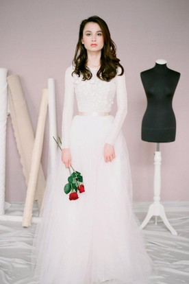 19d9701e359 Modest Jewel Neck Long Sleeve A-Line Tulle Wedding Dress ...
