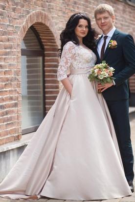 bdae69af87a V-Neck Illusion Long Sleeve A-Line Satin Appliqued Plus Size Wedding Dress  ...