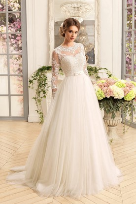 550f62378e A-Line Floor-Length Jewel Illusion-Sleeve Lace-Up Tulle Dress With ...