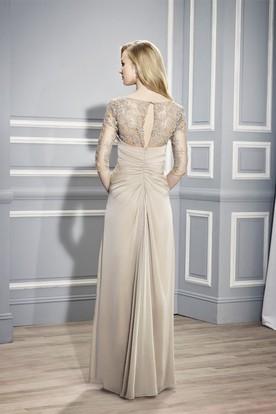 a960fe5c65 ... Bateau Neck Appliqued Half Sleeve Jersey Formal Dress