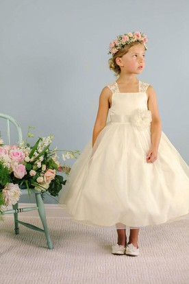 7cceaad8a4 Tea-Length Bowed Floral Lace Organza Flower Girl Dress With Sash