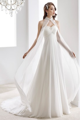 9433d06493d High-Neck Sweetheart Draping Chiffon Wedding Dress With Crisscross Bust And  Beaded Details